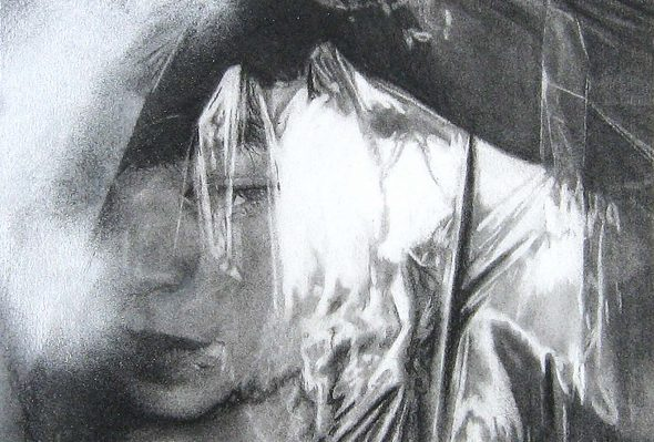 Resplandor · Carboncillo y aerosol sobre papel · 20cm X 25xm · 2011